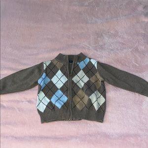Beige argyle white and baby blue baby cardigan
